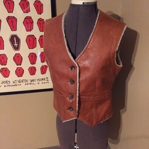 VTG 70s LL Bean Shearling Lined Leather Vest